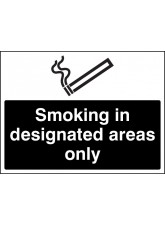 Smoking in Designated Areas Only (White / Black)