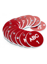 Engraved Valve Tags - Red with White Text