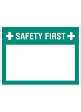 """Small Wipe Clean Board """"Safety First (Write your Message)"""""""