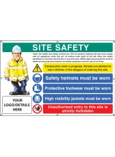 Site Safety - Helmets - Footwear - Hi Vis - Unauthorised Entry - Custom - Banner with Eyelets - 1270 x 810mm