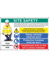 Site Safety - Helmets - Footwear - Unauthorised Entry Custom - Banner with Eyelets - 1270 x 810mm