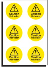6 x Caution Hot Water - 65mm Diameter