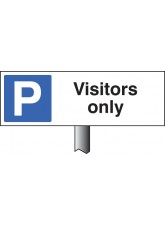 Parking Visitors Only - White Powder Coated Aluminium 450 x 150mm (800mm Post)