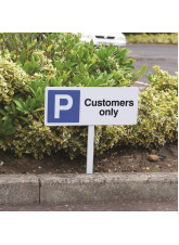 Parking Customers Only - White Powder Coated Aluminium - 450 x 150mm (800mm Post)