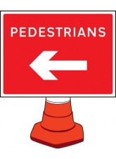 Pedestrians Arrow Left - Cone Sign - 600 x 450mm