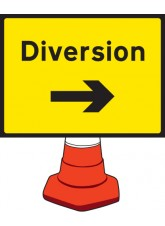 Diversion Right Cone Sign - 600 x 450mm