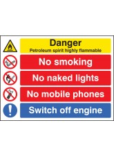 Petroleum Spirit Highly Flammable / no Smoking Etc