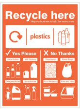 Plastic Bottles - WRAP Recycle Here Sign