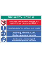Coronavirus Site Safety Board with 4 Messages - 1m / 2m / Generic Distance Options