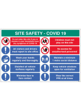 Coronavirus Site Safety Board with 10 Messages - 1m / 2m / Generic Distance Options